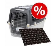 Set Trasportino Gulliver Trixie + Coperta per cani Vetbed® Isobed SL Paw - Misura Trasportino 5 + Coperta L 100 x P 75