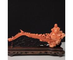 Scultura di paesaggio Buddista in Corallo Rosso
