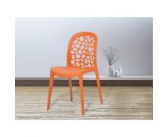 Sedia arancione - Sedia in plastica - Sedia da giardino di design - Sedia da pranzo - RUBIN