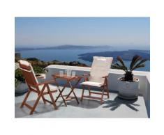 Set da balcone - Tavolino e due sedie con cuscini color crema - TOSCANA