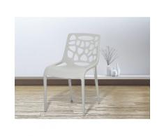 Sedia grigia - Sedia da pranzo di design - Sedia in plastica da giardino - MORGAN