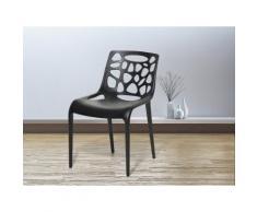 Sedia nera - Sedia da pranzo di design - Sedia in plastica da giardino - MORGAN