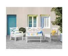 Set da giardino e balcone in legno bianco - Tavolo con 2 sedie e panca - BALTIC