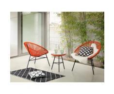 Set da balcone arancione - 2 sedie e tavolino da caffè - ACAPULCO