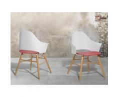 Sedia bianca rossa - Sedia da giardino - Sedia in plastica - Sedia da pranzo di design - BOSTON
