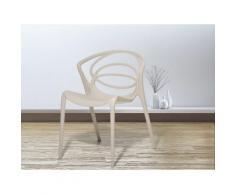 Sedia beige - Sedia in plastica - Sedia da giardino di design - Sedia da pranzo - BEND