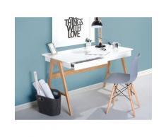 Scrivania da ufficio in legno bianco con 2 cassetti - 120x70cm - SHESLAY