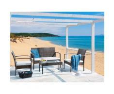 Set da giardino in rattan marrone e acciaio - Set divano e poltrona con tavolino da esterno - MARSALA