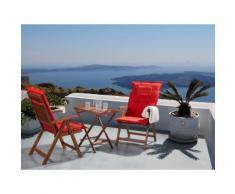 Set da balcone - Tavolino e due sedie con cuscini color terracotta - TOSCANA