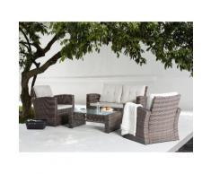 Set in rattan da giardino - Lounge da esterno con tavolo poltrona e divano in rattan - LUCA
