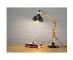 Lampada da tavolo in legno e metallo nero - SALADO