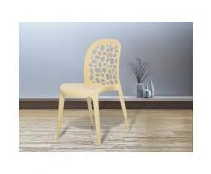 Sedia beige - Sedia in plastica - Sedia da giardino di design - Sedia da pranzo - RUBIN