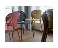 Sedia design da cucina in plastica grigia - Sedia moderna da giardino - HOLMDEL