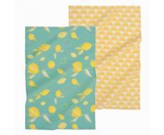 2 strofinacci gialli e blu in cotone CITRUS