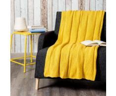 Coperta lavorata a maglia gialla 127 x 152 cm KERNEVEL