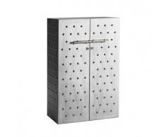 OPINION CIATTI armadio con borchie PRINCIPE GALEOTTO (Cemento, accessori cromati, 2 ripiani e 4 appendiabiti - MDF e metallo)