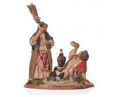 Scena ubriaco e donna con scopa 10 cm presepe Napoli