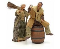 Scenetta ubriaco e donna con scopa 14 cm