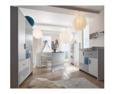 SCHARDT Set Cameretta neonato Candy Blue con Armadio, Lettino, Fasciatoio con Base d'Appoggio, Lati Trasformabili