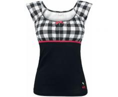 Pussy Deluxe Evie Shirt Plaid Maglia donna nero/bianco