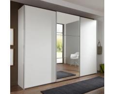 Armadio Nigella AD II in due altezze, in bianco opaco e specchio