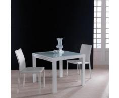 Tavolo Space allungabile in metallo bianco e vetro sabbiato