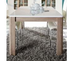 Tavolo allungabile Azuma in bianco lucido e rovere fresato