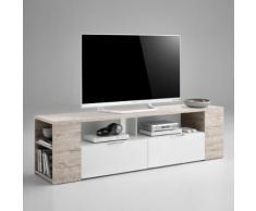 Mobile porta TV Karnot II in essenza rovere sabbia e bianco