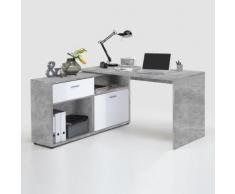 Scrivania angolare Flox in effetto cemento e bianco lucido