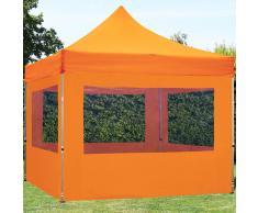 tendapro.it Gazebo Pieghevole ALU 3x3m Poliestere professionale con rivestimento PVC arancione Padiglione Richiudibile Automatico
