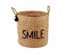 Maisons du monde Cestino ricamato in vimini SMILE JOY