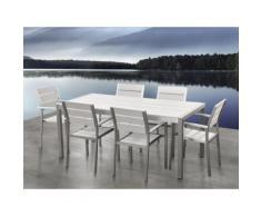 Set bianco da giardino in alluminio e poliwood - Tavolo da 180cm e 6 sedie - VERNIO