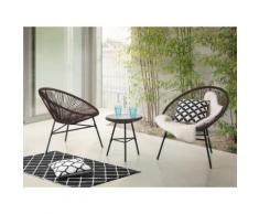 Set da balcone marrone - 2 sedie e tavolino da caffè - ACAPULCO