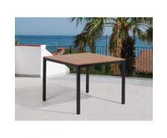 Tavolo da giardino marrone in alluminio e poliwood - 95x95cm - PRATO