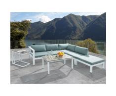Set divano angolare da giardino in alluminio bianco - Salotto moderno per esterno - MESSINA