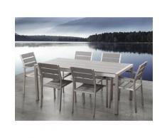 Set di tavolo e sedie da giardino in alluminio e poliwood grigio - VERNIO