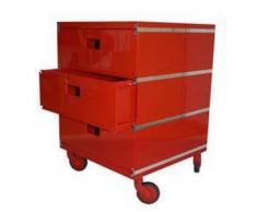 MAGIS cassettiera PLUS UNIT a 3 cassetti (Rosso con ruote - ABS lucido)