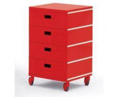 MAGIS cassettiera PLUS UNIT a 4 cassetti (Rosso con ruote - ABS lucido)