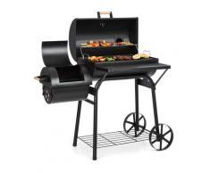 Beef Brisket barbecue con affumicatore termometro ruote coperchio nero