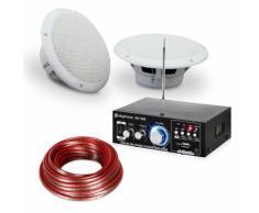 "Speaker Sound Set Amplificatore HiFi per Bagno e Terrazza 6,5"" 4pz. Impermeabile"