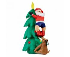 oneConcept Santa on Tree Babbo Natale Gonfiabile 150cm Pompa 6 LED