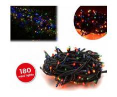013492 Minilucciole natalizie multicolor 180 luci 8 giochi di luci 9,16 metri