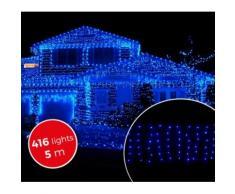 031410 Luci natalizie a tenda 416 luci BLU con giochi di luci da esterno 5mt