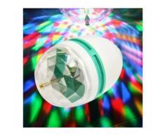 Lampada lampadina led rgb rotante multicolore 3W attacco E27 giochi di luce per feste pub discoteca