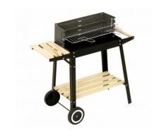 Barbecue a carbonella 429754 58x33x68 cm BBQ acciaio e legno con ruote