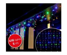 031434 Luci natalizie a tenda 416 luci multicolor con giochi di luci da interno