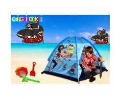 Tenda da gioco pirati forma piramide 112x112x94 cm tema marinaro per bambini Linea Cigioki