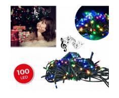 467080 Luci natalizie 100 led multicolor con effetto sonoro 8 melodie 6 metri