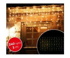 031342 Luci natalizie a tenda 240 luci BIANCHE con giochi di luci da esterno 3mt