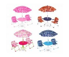 Set da giardino per bambini 3177110 COVERI BABY tavolino sedie e ombrellone